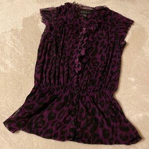 INC sheer leopard purple top